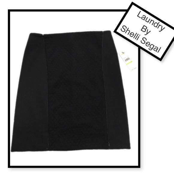 Laundry by Shelli Segal quilted panel pencil skirt Laundry by Shelli Segal Quilted panel black pencil skirt. Faux leather piping. Back zip sz 4. Waist measured flat approx 15. From waist to hem approx 20. Laundry by Shelli Segal Skirts