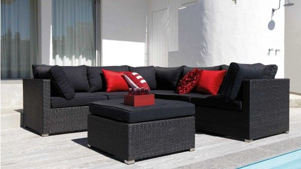 Bahamas 5 Piece Outdoor Modular Lounge with Ottoman - Lounges ...