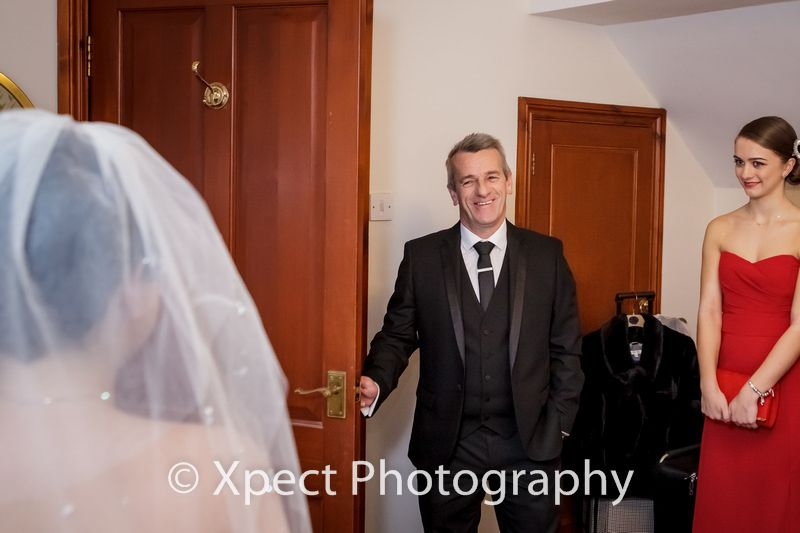 Wedding photographers South Wales, Glen Yr Afon, Wedding photography, preparations, Father seeing bride photo,