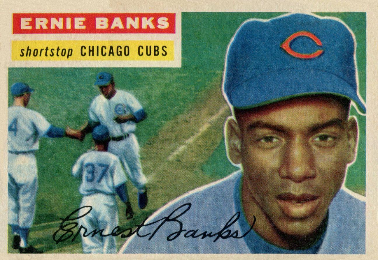 1956 topps ernie banks baseball card values baseball