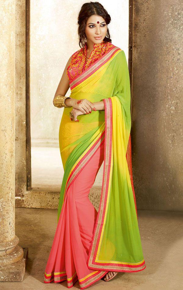 Fashionable Multi Color Indian Saree