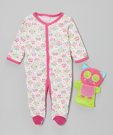 Look what I found on #zulily! Pink Owl Footie & Puppet - Infant by Duck Duck Goose #zulilyfinds