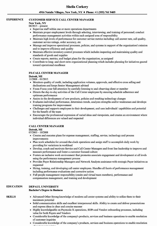 Call Center Resume Description New Call Center Manager