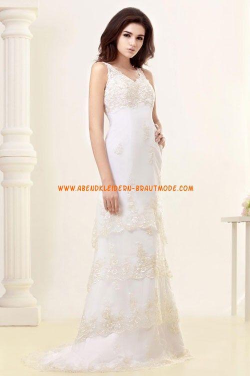 2013 Sexy Brautkleider mit Spitze und Satin V-Ausschnitt