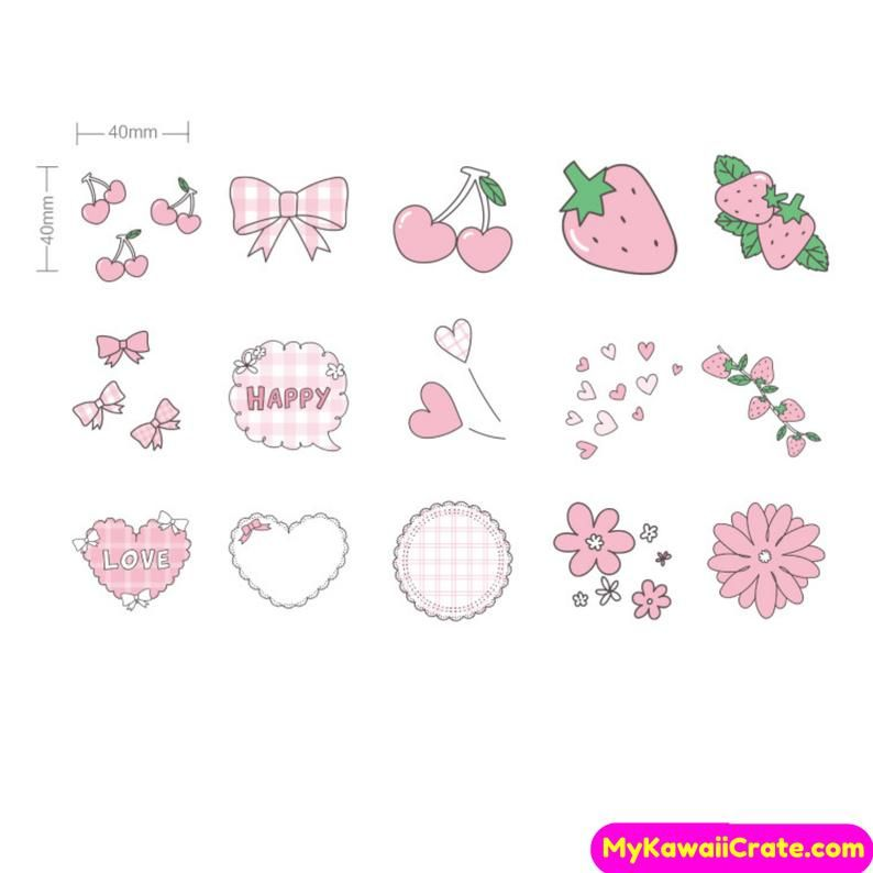 Kawaii Strawberry Flavor Stickers ~ Pink Stickers Cute Stickers Girly Stickers