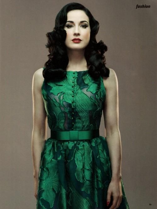 fe28586db54 Dita Von Teese in a vintage green dress