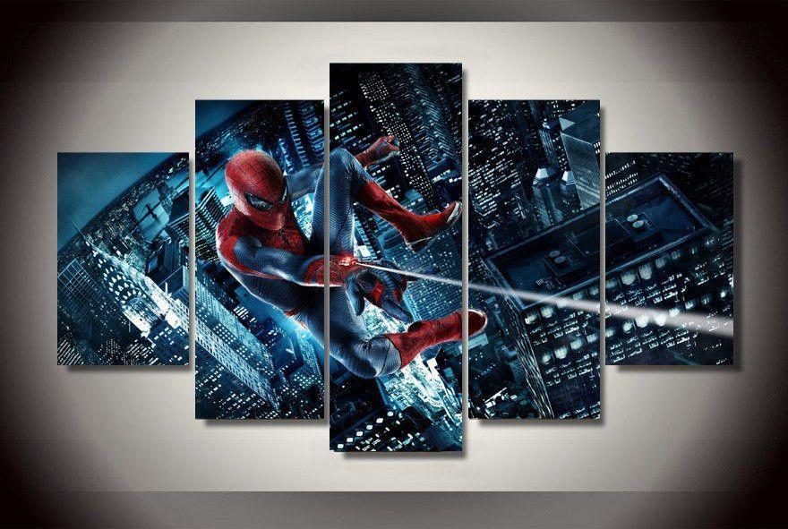 5 Panel Marvel Spider Man Framed Wall Canvas Art Framed Wall Canvas Canvas Wall Art Spiderman Canvas