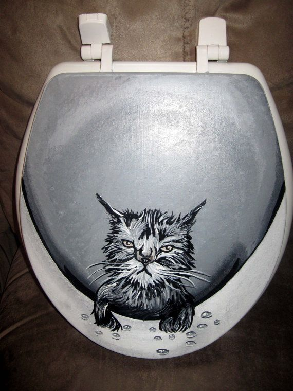 Cat Toilet Seat Wet Cat Toilet Seat By Somanysigns On