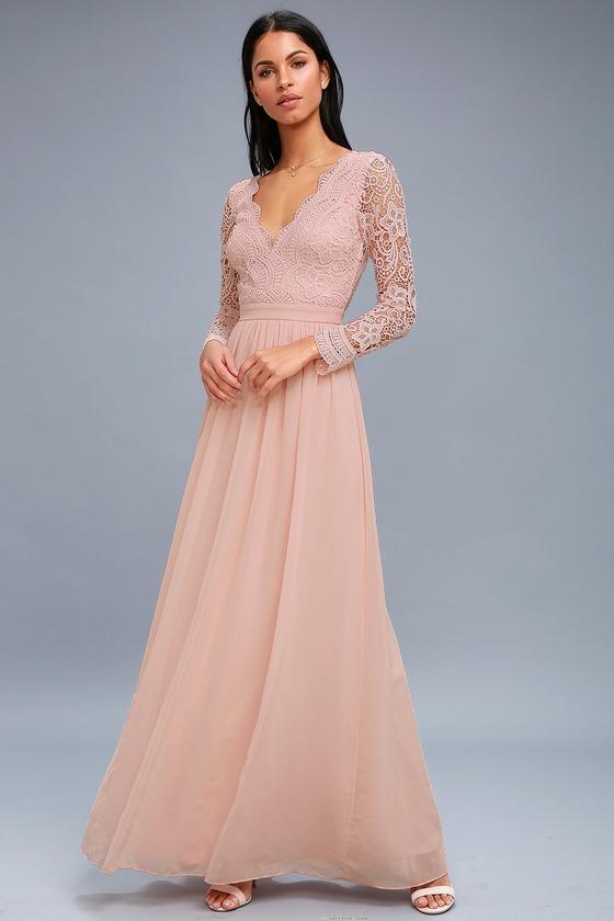 0048464e07ec Lulus | Awaken My Love Blush Pink Long Sleeve Lace Maxi Dress | Size Large  | 100% Polyester