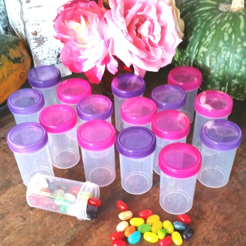 16 party pill bottle jars pink purple lid cap 2 oz container k4314
