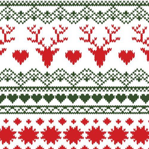 Traditional Fair Isle Deer Heart Cotton Spandex Knit Fabric ...
