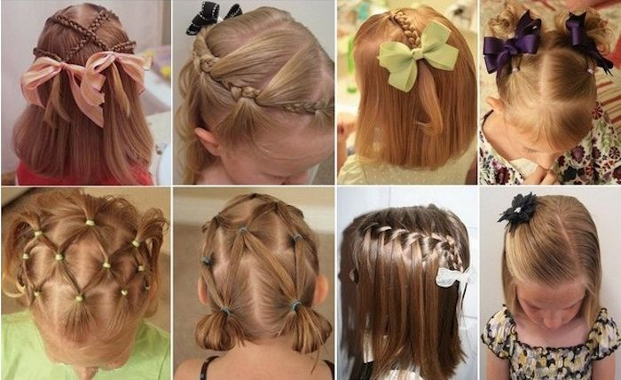 Collage Showing Eight Images Of Different Braided Hairstyles Worn By Small Children With Shoulder Length Hair Girl Hairstyles Long Hair Styles Hair Styles