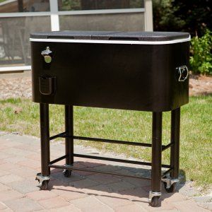 Elegant Outdoor Bar Cart with Cooler