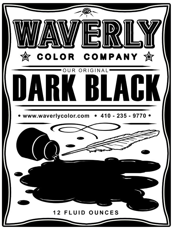 Dark Black Tattoo Ink label for Waverly Color Co. | Toddfather Art ...
