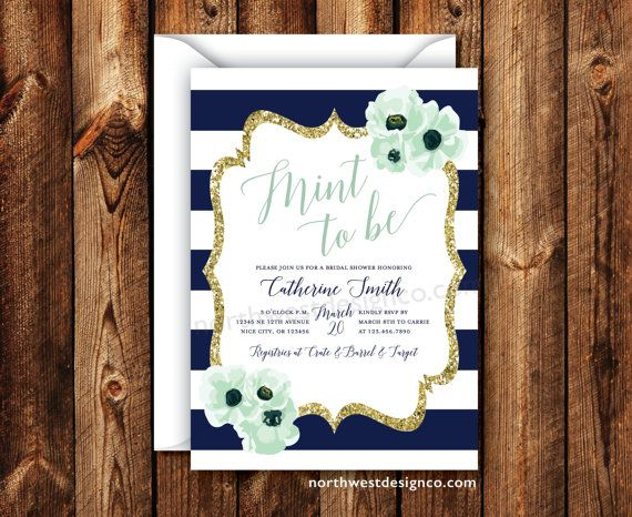 navy mint to be bridal shower invitation navy stripe floral boho gold modern wedding shower invite 5x7 digital file or printed invitation