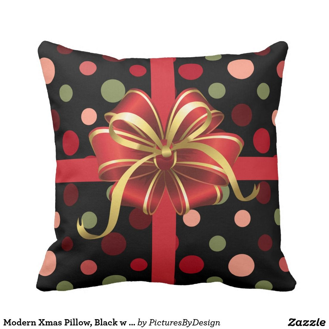 Modern xmas pillow black w polka dots u bow throw pillow