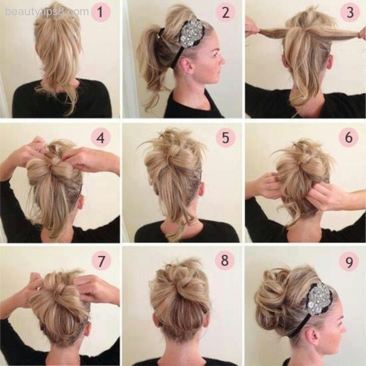 How To Do A Messy Bun Step By Step Style Arena Hair Styles Hair Updo With Headband