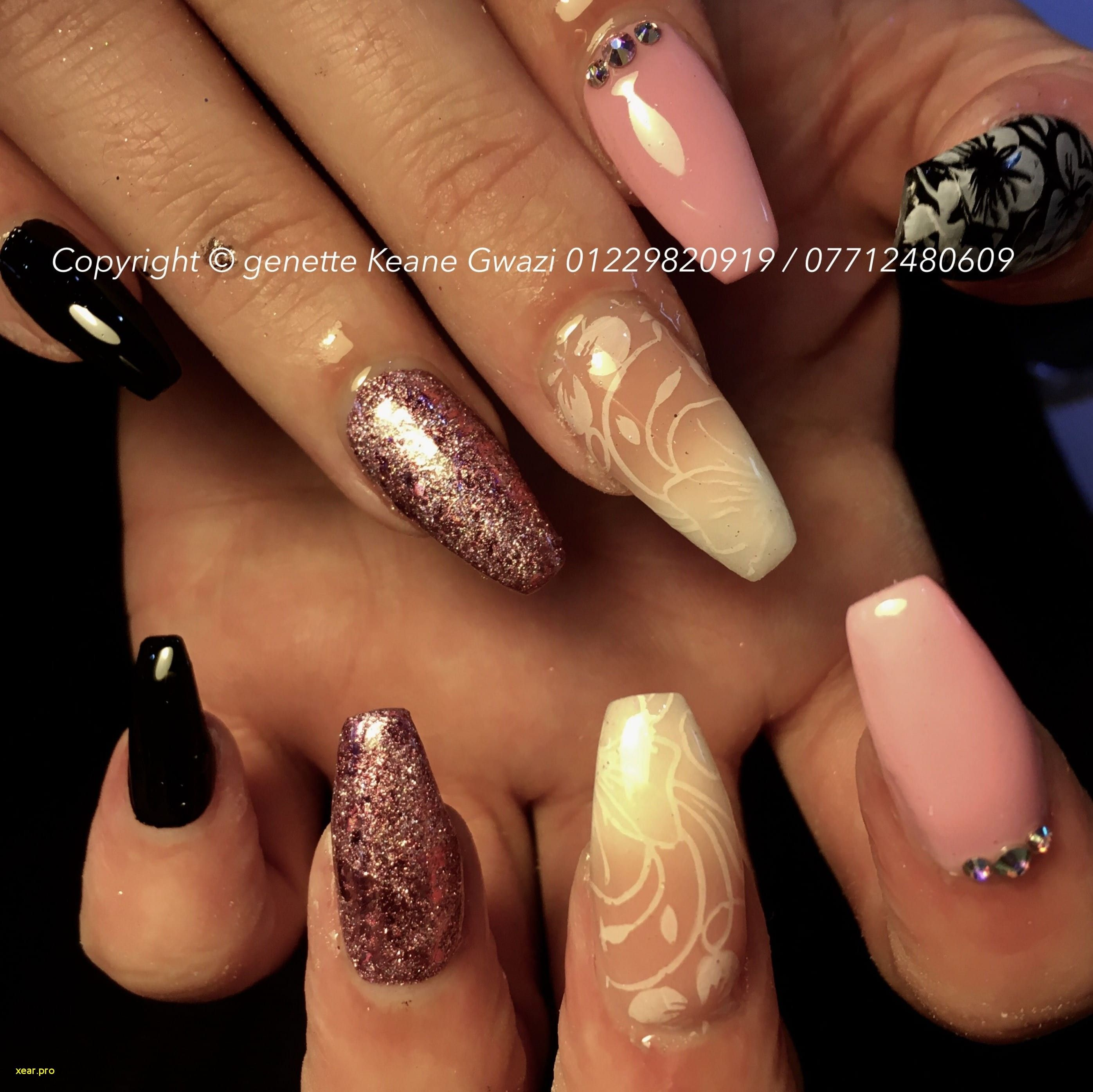 Glitter Acrylic Nails Black To Pink