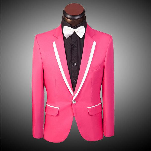 Hot Pink Red Blue Yellow Men Suit Jacket Pants