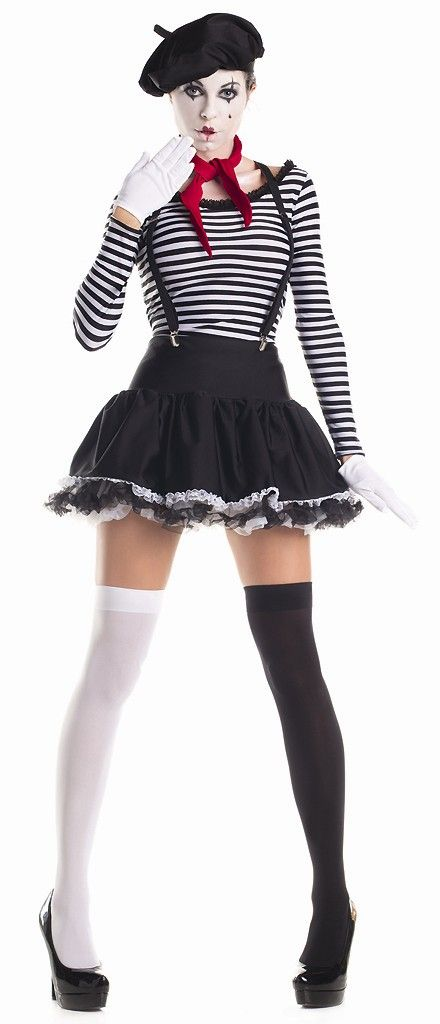 Express yourself theatrically without speech in our sexy Mesmerizing Mime Adult Costume. Your audience will be happy to watch your body motions as your perform in silence. Our women's Mesmerizing Mime Costume includes a striped black and white top, black mini ruffle skirt with frilly lace hem, black beret hat, red neck scarf, black suspenders, white gloves and thigh high stockings (one black, one white).
