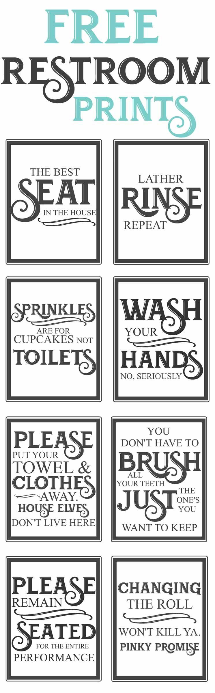 image about Printable Farmhouse Signs known as Absolutely free Classic Lavatory Printables Do-it-yourself Farmhouse decor