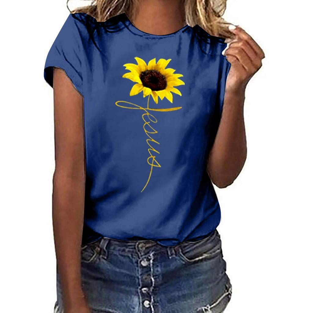 WUAI-Women T-Shirt Plus Size Casual Short Sleeve Summer Tops Crewneck Graphic T-Shirt Tops Tees