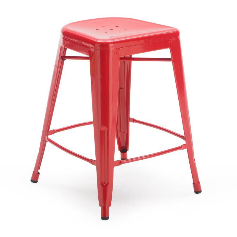 Red Square Front Metal Bar Stools 2 Piece 3629c 24 Red