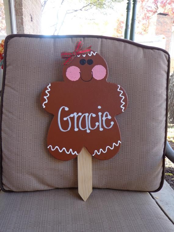PERSONALIZED Gingerbread Girl Wooden Christmas Yard Art Sign