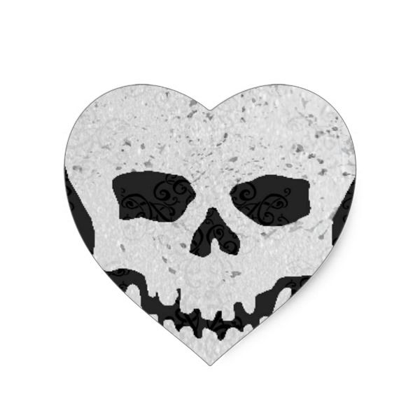 Vintage sparkle skull heart sticker halloween holiday creepyhollow stickers
