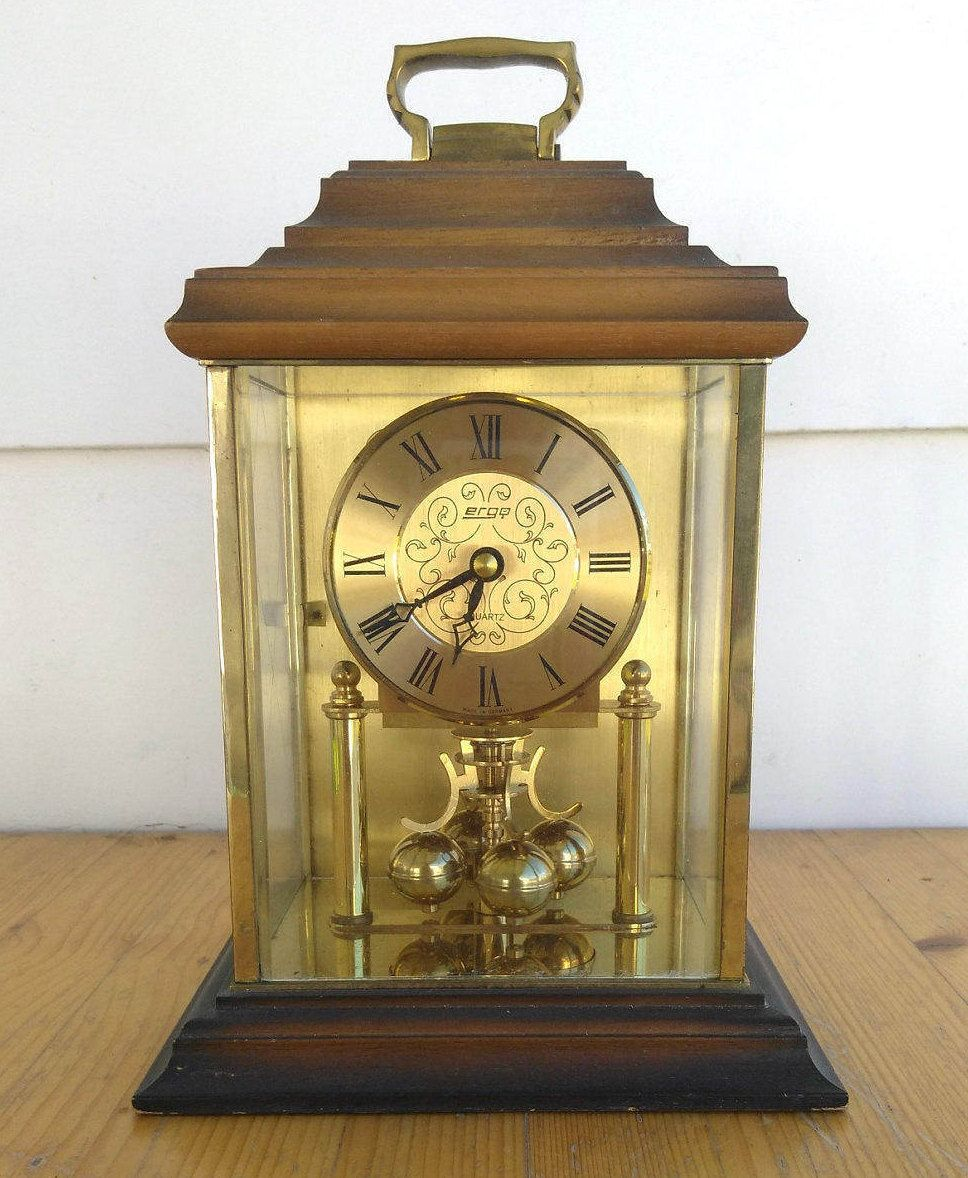 Vintage Haller Ergo Pendulum Mantel Clock Wood Brass German Clock 2 ...
