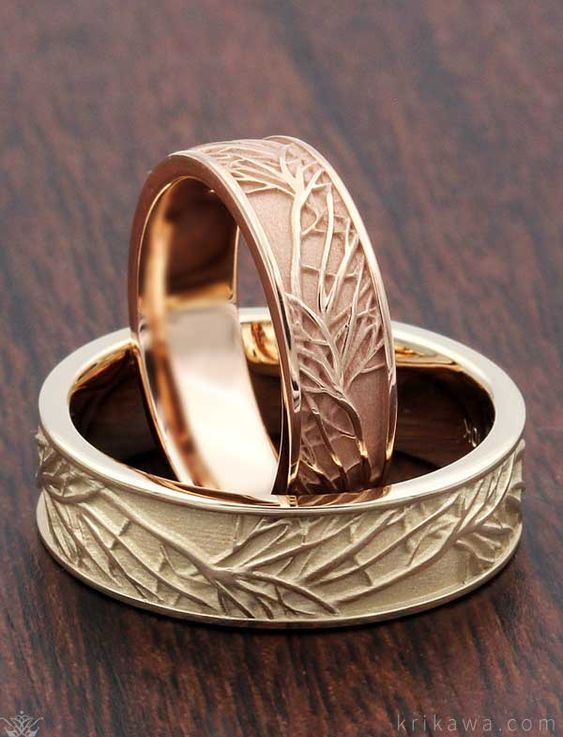Midwest Jewellery Princess Cut Diamond Wedding Ring 3 in 1 Engagement & Bands White Gold (J/k, Tree of Life Wedding Band Set. Want matching wedding bands that aren& exactly the same? This set was done in rose gold and green gold.