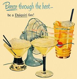 Be a Daiquiri Fan! Detail from 1950 Puerto Rico Rums ad.