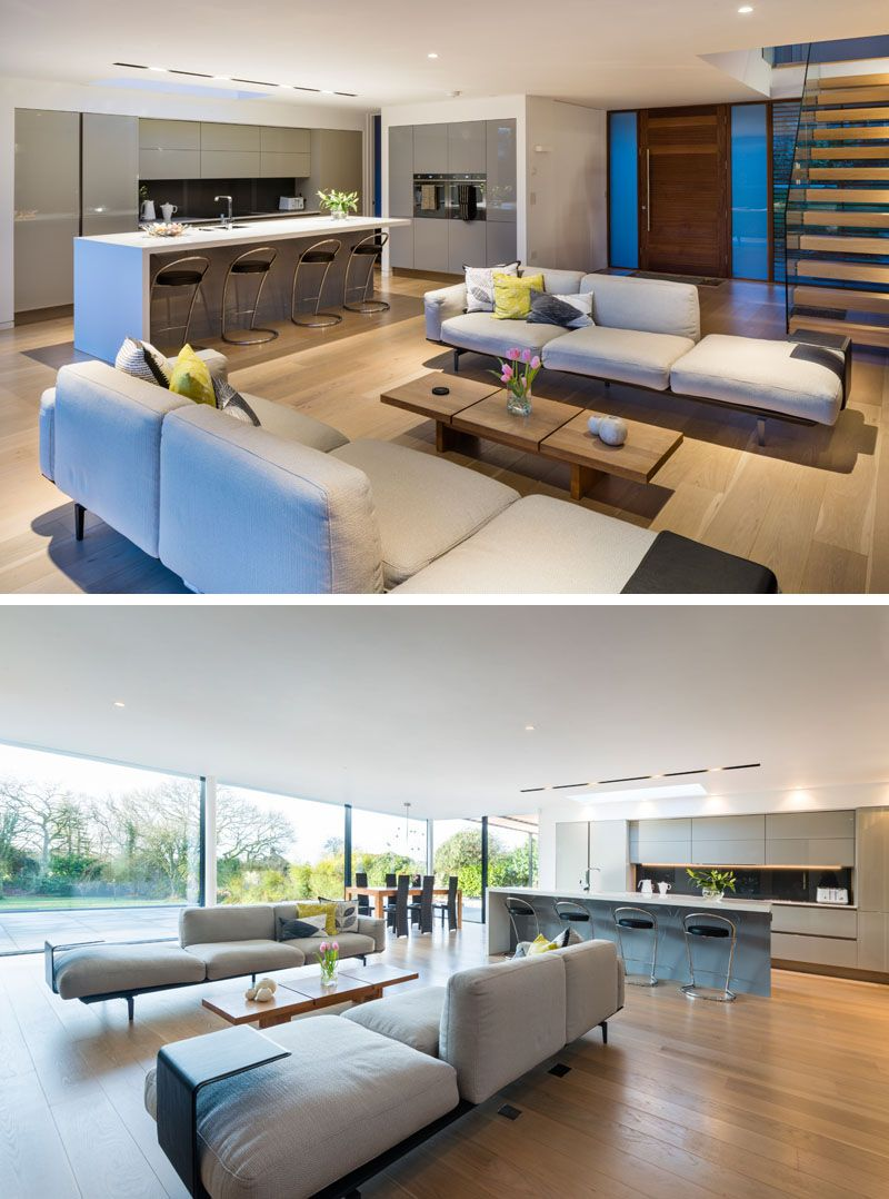 White oaks house by barc architects modern interior - Kitchen dining room and living room all open ...