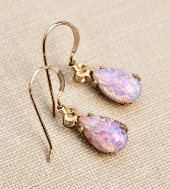 6114369f8 Vintage Fire Opal Earrings,Gold Filled,Vintage Glass Opal,Pink Opal,Harlequin  Opal,Birthstone Jewelry,Petite,Heirloom