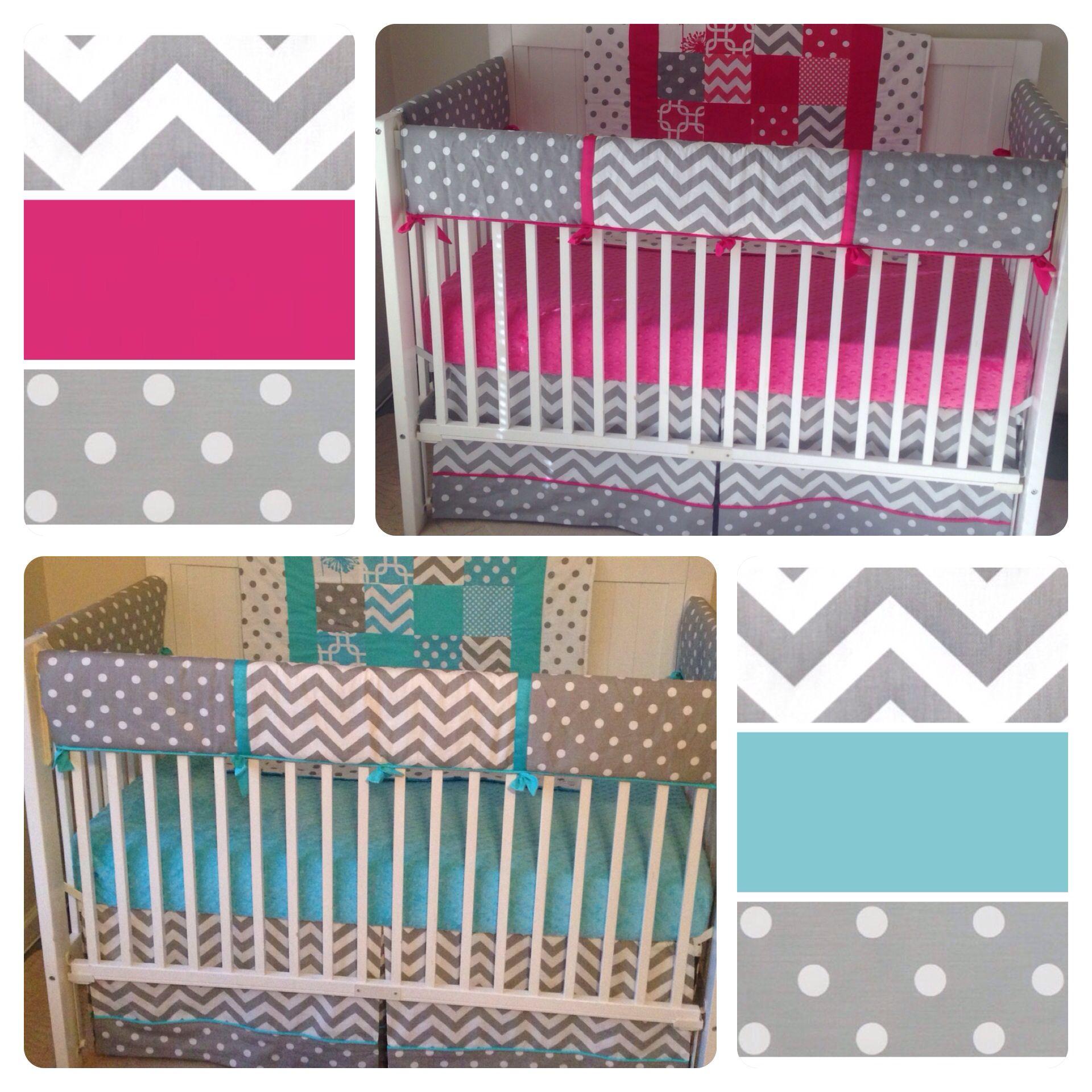 Aqua Teal And Fuchsia Hot Pink Boy Twin Crib Bedding Too Cute