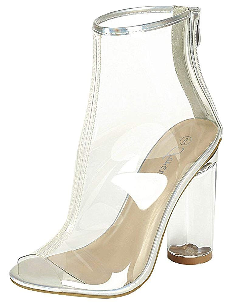 195b0e4631c Forever Clear-24 Clear Translucent Transparent Lace Up Peep Toe Ankle  Bootie W Perspex Block