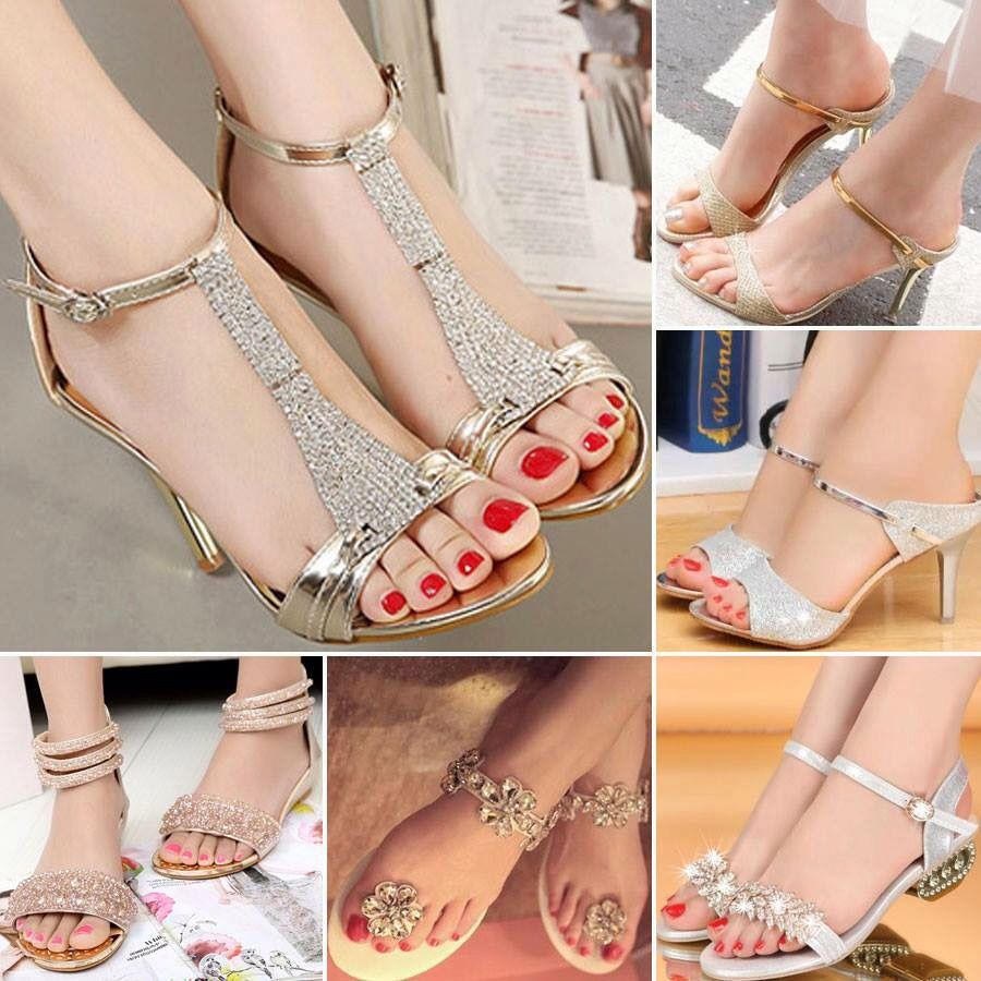 Gold low heeled shoes