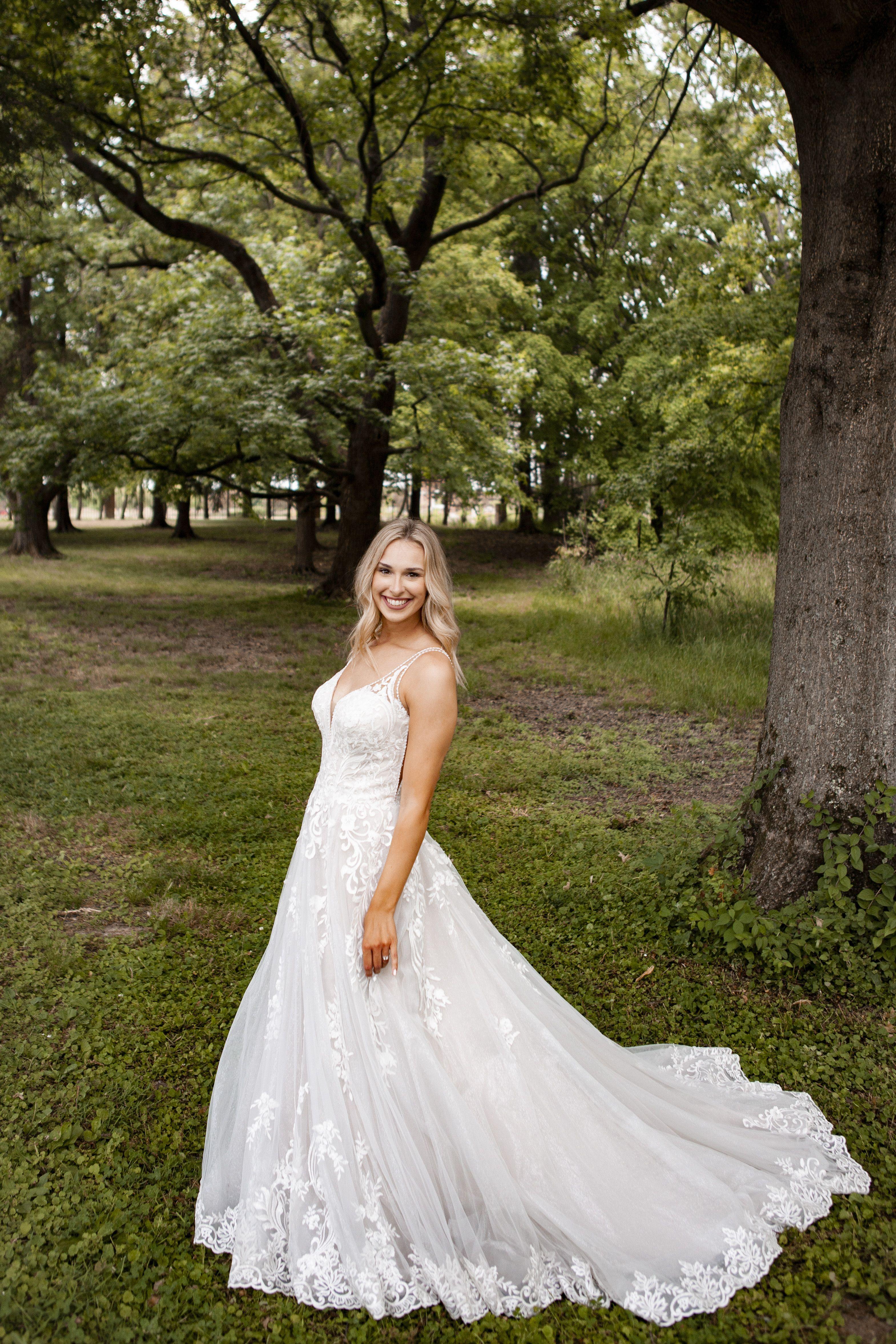 ALine Essence of Australia Wedding Dress with a train in