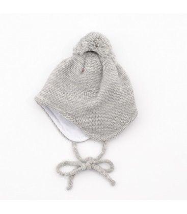 69537b88e3eac Gorro de punto gris con pompón para bebé
