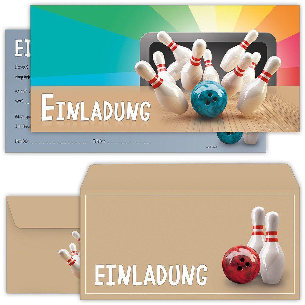bowling einladungskarten mit umschlägen 12er set zum
