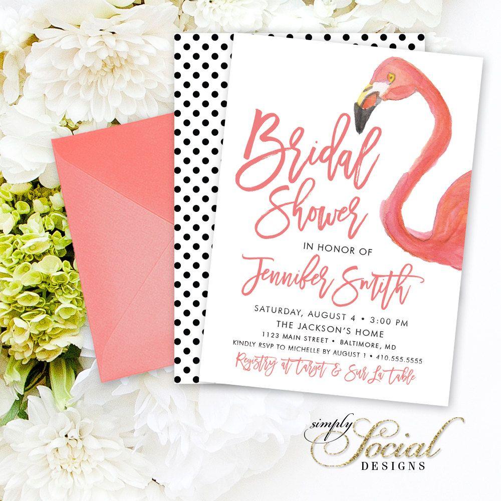 Flamingo Bridal Shower Invitation - Watercolor Flamingo and Modern ...