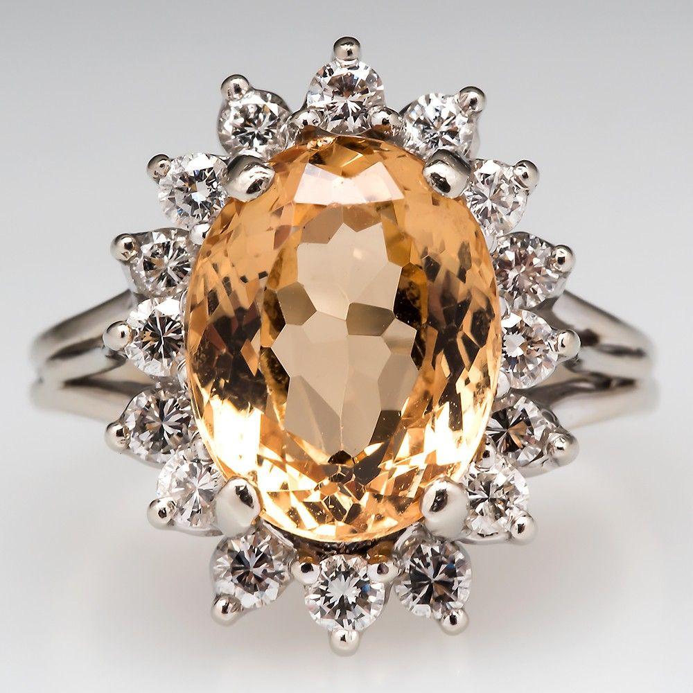 Golden Topaz Cocktail Ring W/ Diamond Accents 14K White