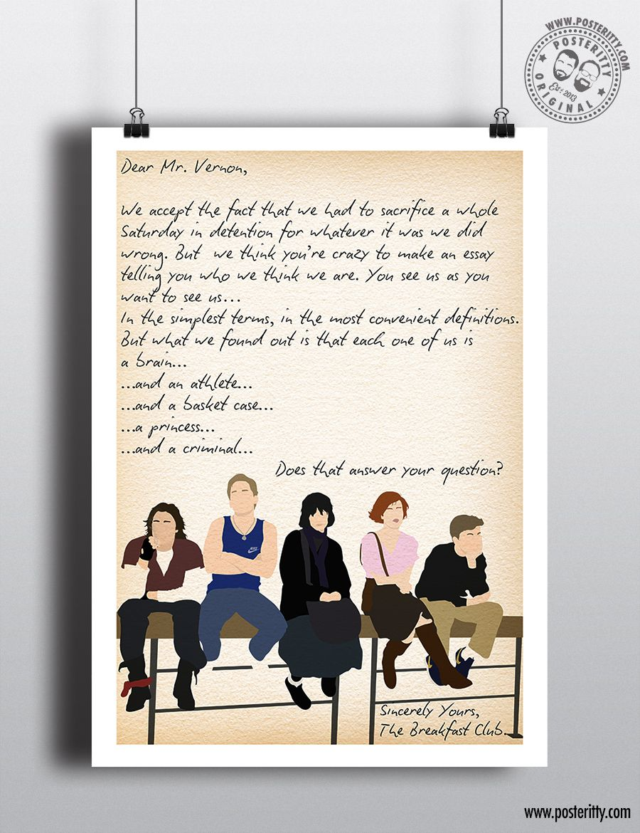 prints gift poster gifts print wall art Quote The Breakfast Club