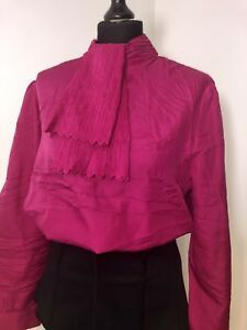 Details About 80s Pink Frill Neck Shirt Blouse 18