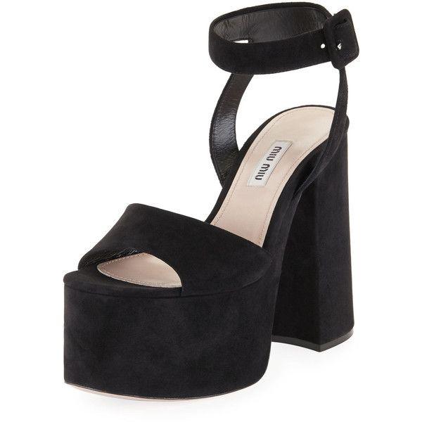 e56d507e1cb Miu Miu Suede Platform Block-Heel Sandal ( 750) ❤ liked on Polyvore  featuring