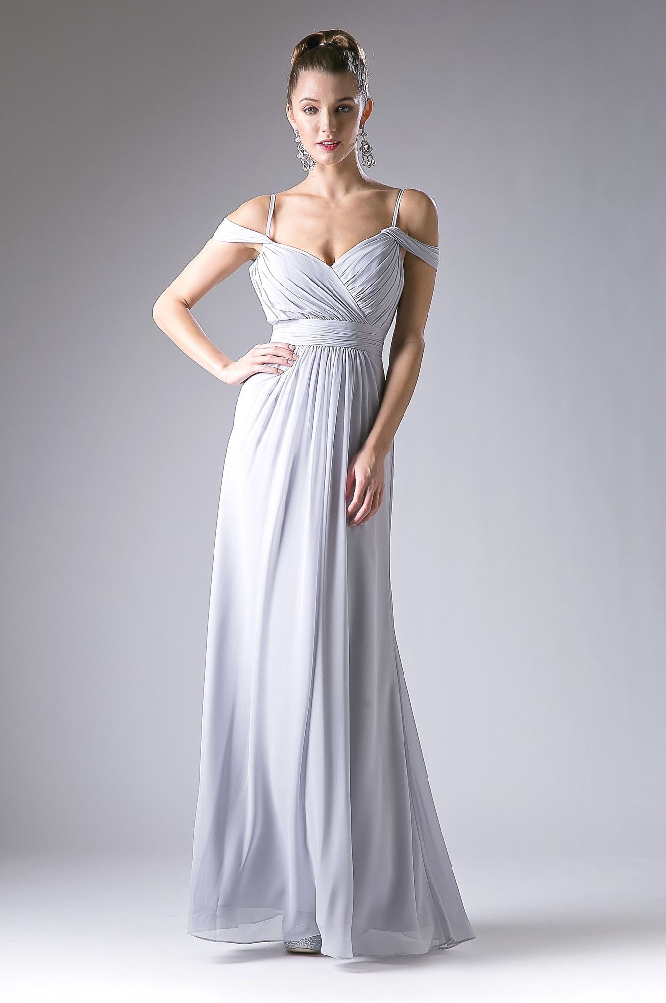 Long Ruched Cold Shoulder Dress by Cinderella Divine CH527