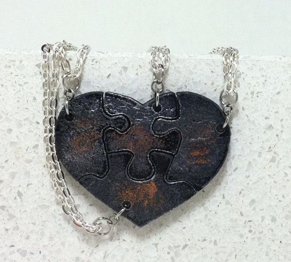 Leather Heart Puzzle necklaces set of 4 by GirlwithaFrogTattoo, $60.00
