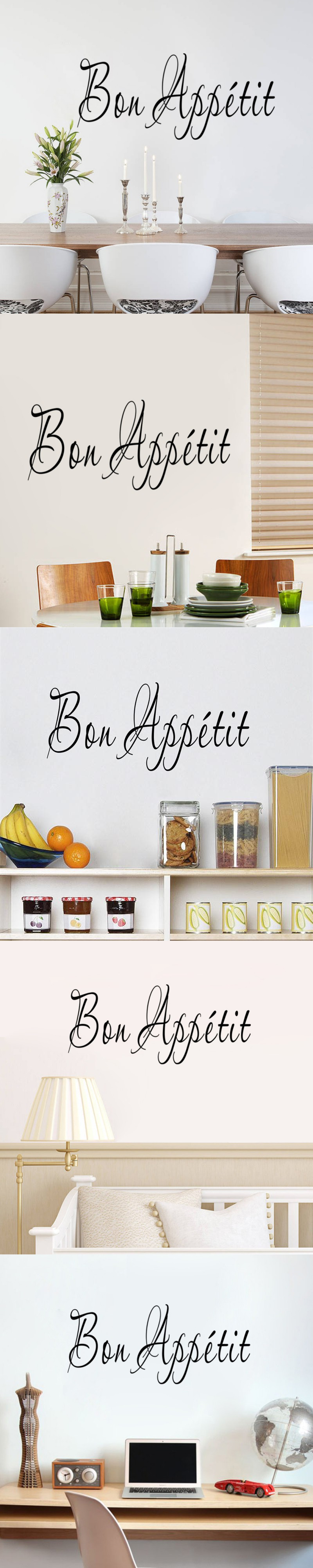 Creative French Language Bon Appetit Restaurant Store Kitchen Decoration  Family Home Decal Wall Sticker Mural Art Stickers