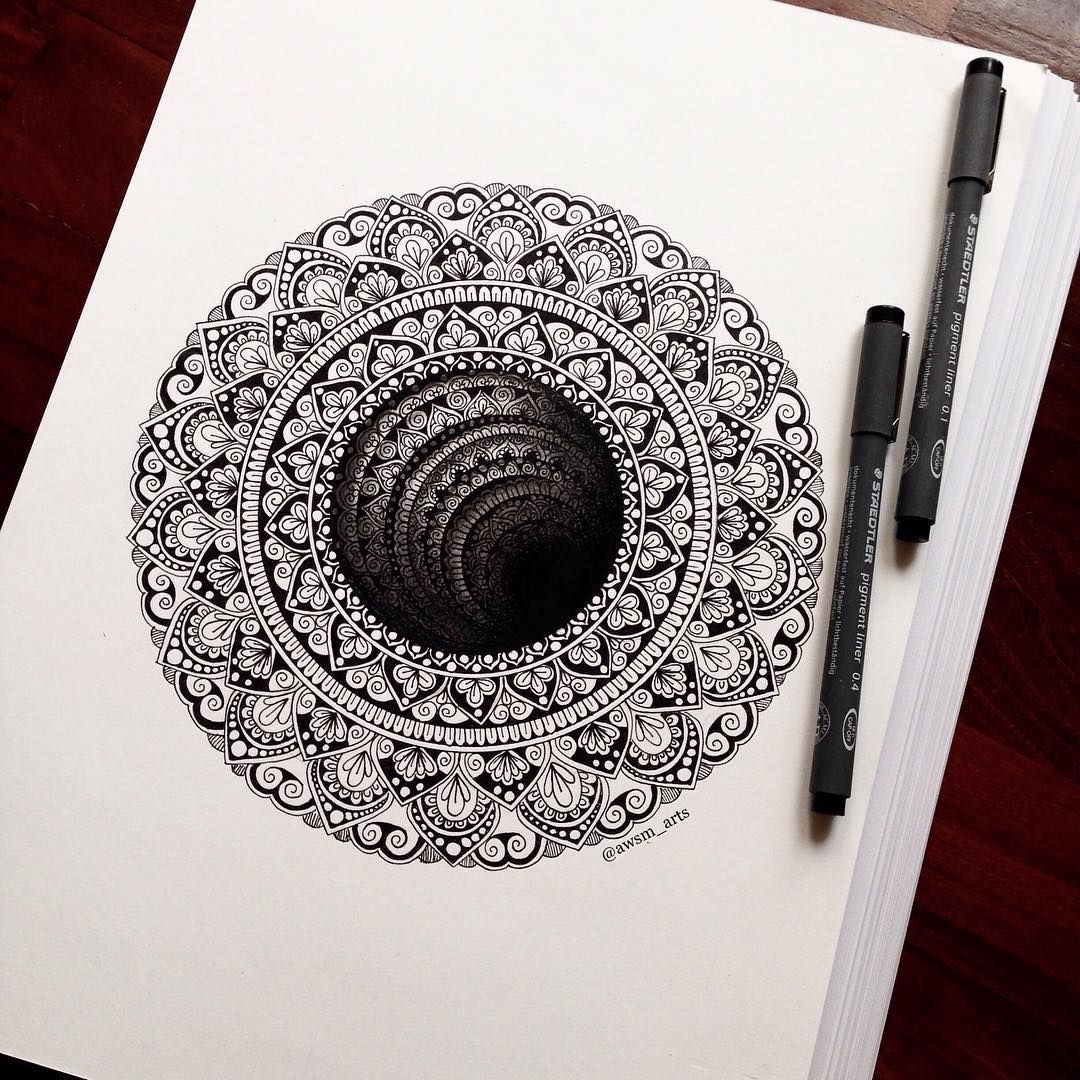"""Intricate and Beautiful Mandala Designs by Marta Felicioni is part of Mandala design, Mandala sketch, Mandala drawing, Mandala art, Drawings, Mandala - Mandala means """"circle"""" in Sanskrit and it is an intricate and abstract design generally has a center and in circular form  Artist Marta Felicioni uses her pen creatively to draw gorgeous mandala…"""
