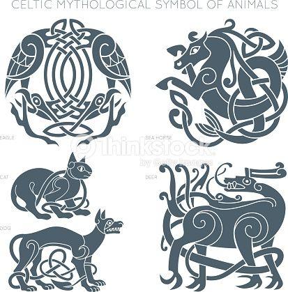 Ancient celtic mythological symbol of animals. Vector knot ornament.